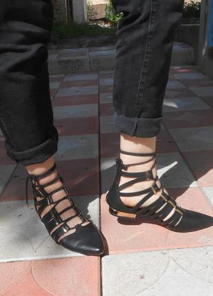 Фирменные босоножки / сандалии на низком ходу со шнуровкой river island, р.39 код l3911