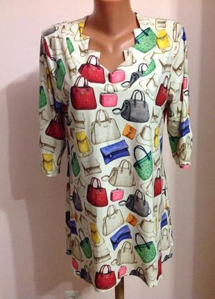 Вискозная интересная туника- платье. хл.