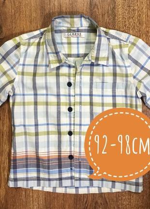 Хлопковая рубашка на мальчика 2-3 лет рост 92-98см.