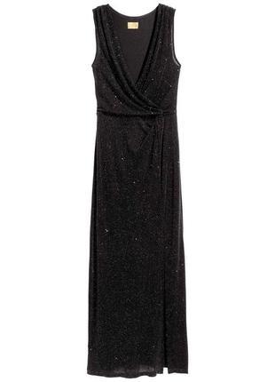 Мерцающее шикарное черное платье с разрезом от h&m