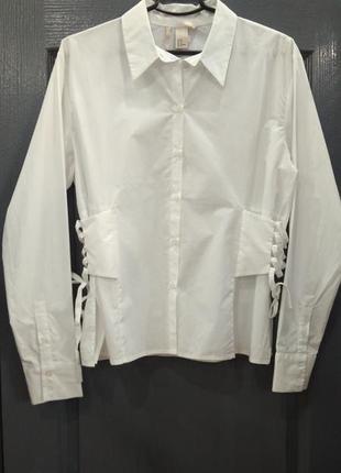 Крутая белая хлопковая рубашка  h&m.
