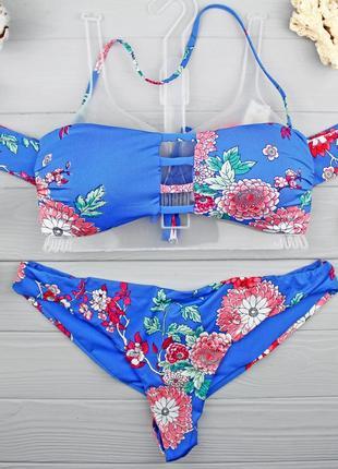 !!!sale!!! крутой купальник-бандо с рукавчиками от tezenis размер m