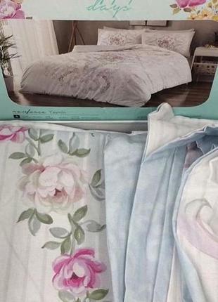 Постельное белье tac ранфорс - yasemin розовый семейный комплект