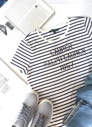 Женская футболка ralph lauren в модный принт в полоску! новая, оригинал!