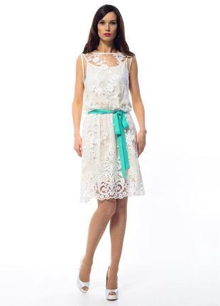 Новое роскошное платье iren claire! дорогое кружево+мятный пояс!