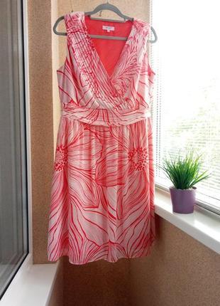 Красивое летнее платье миди супер модного кораллового цвета