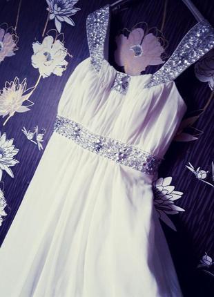 Шикарное свадебное/выпускное/вечернее платье в пол в греческом стиле камни swarоvski.