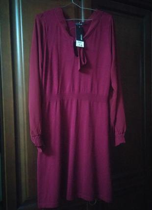 Платье повседневное цвета марсал м-л размер