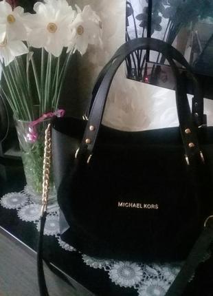 Стильная черная сумка шоппер майкл корс ( michael kors )