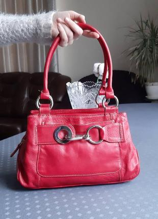 Кожаная красивая красная сумка фирмы joshua taylor в новом сост