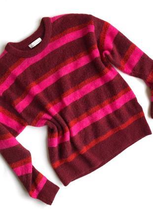 Яркий шерстяной свитер h&m в полоску