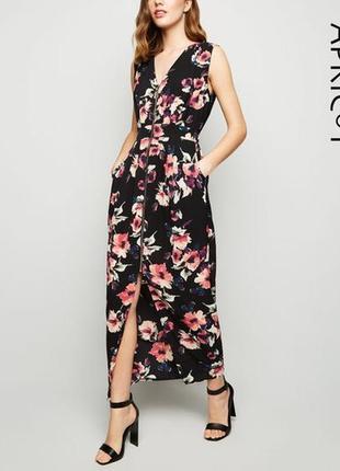 Потрясающее платье в пол на молнии цветочный принт apricot