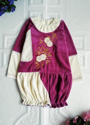 Нарядное бархатное велюровое платье с вышивкой и пайетками