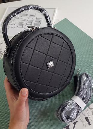 Круглый клатч, сумка через плечо 1238 черный