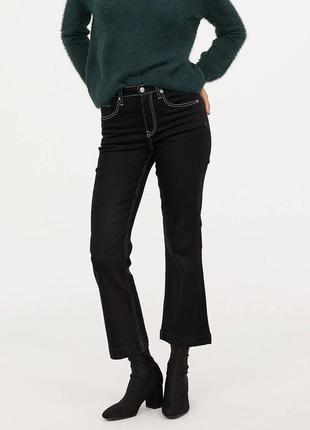 Актуальные укороченные джинсы-клеш