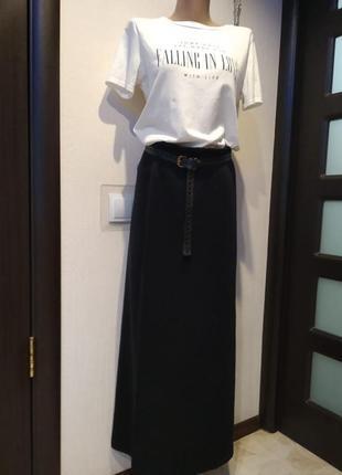 Крутая юбка макси прямая черного цвета из натурального шерсти меринос