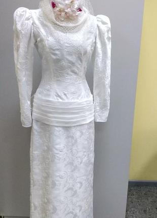 Ellis белоснежное платье макси + шляпка с вуалью англия викторианский стиль
