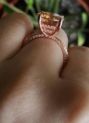 Кольцо колечко цирконий золото перстень