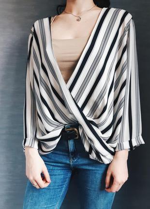 Стильная белая в черную полоску блуза/блузка от new look