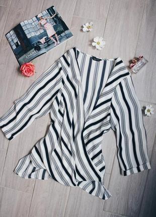 Стильная белая в черную полоску блуза/блузка от new look2 фото