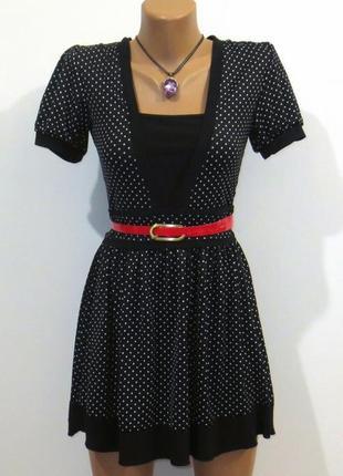 Стильное черное платье от axara 2-в-1 размер: 44-s