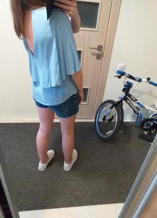 Блуза пыльно голубая рукав пончо