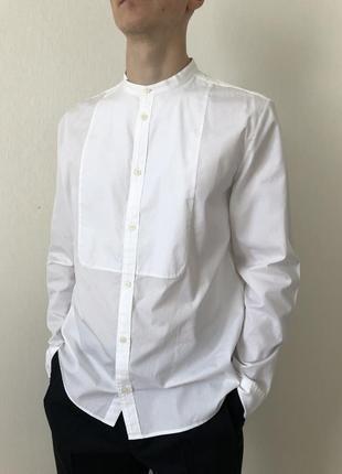 Белая рубашка с квадратом с круглым воротом cos}оригинал,размер m,xl