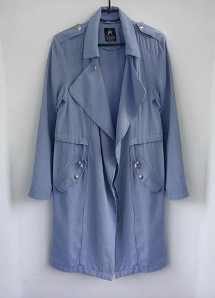 Натуральный тренч - платье, облегченный плащ тренчкот цвета индиго atm3 фото