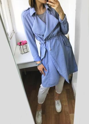Натуральный тренч - платье, облегченный плащ тренчкот цвета индиго atm2 фото