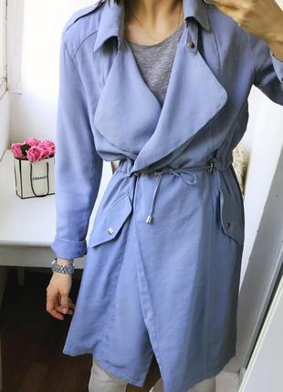 Натуральный тренч - платье, облегченный плащ тренчкот цвета индиго atm9 фото