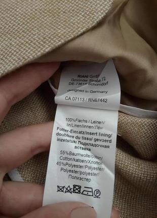 100% лен. стильный красивый оригинальный жакет пиджак riani max mara. оригинал6 фото