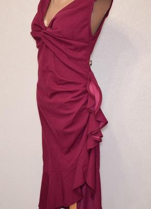 Роскошное вечернее платье cbr с воланами и разрезом спереди