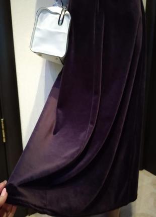 Велюровая юбка-карандаш макси трапеция фиолетовая брэндовая