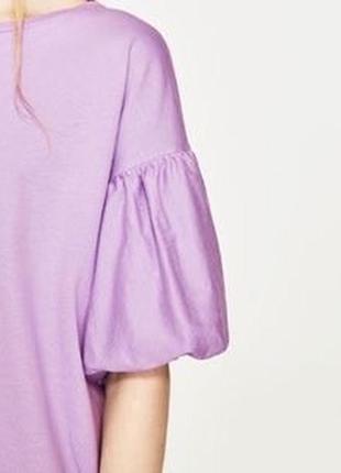 Легкое платье лавандового цвета с объемными рукавами2 фото