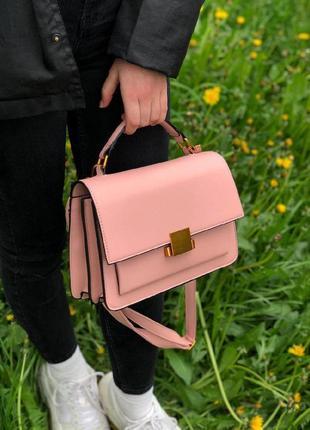 Пудровая каркасная сумочка из эко-кожи с короткой ручкой сумка на ремешке