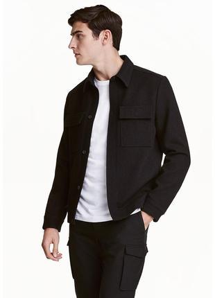 H&m шерстяная куртка рубашка 54% шерсть мужской шерстяной пиджак на весну распродажа