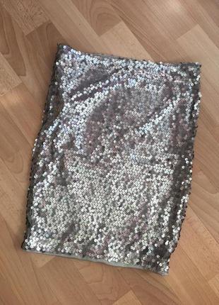 Юбка мини с пайетками. серебро. серая серебряная  обтягивающая короткая юбка.