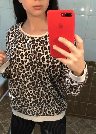 Леопардовый свитшот кофта с актуальным леопардовым принтом2 фото