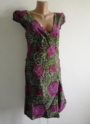 🌿 платье оливкового цвета на запах в крупный принт🌿 платье миди