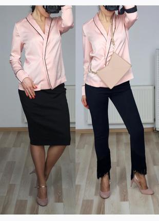 Шикарная шелковая блузка блейзер пиджак в пижамном стиле пудровый цвет