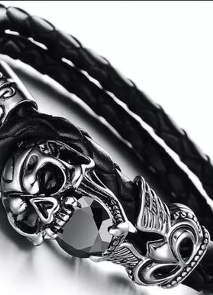 Винтажный кожаный мужской браслет с черепом