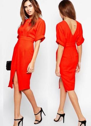 Шикарное красное платье миди с разрезом спереди asos