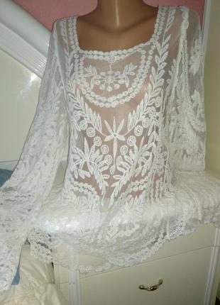 Белая ажурная блуза р