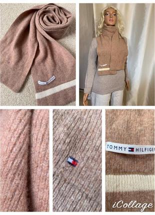 Базовый теплый шарф  шерстяной шарф tommy hilfiger оригинал