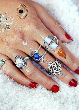 Очень красивый модный набор колечек в стиле бохо кольцо орнамент