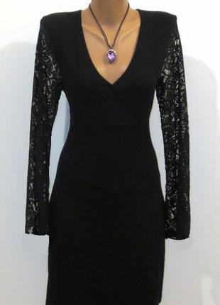 Стильное черное платье с кружевом от melrose стройнит размер: 46-м
