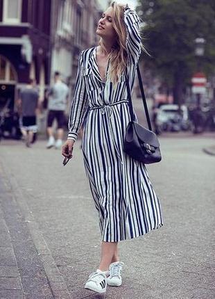 Платье пляжное полосатое сине-белое на пуговицах