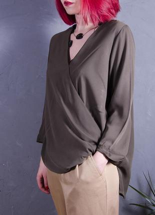 Свободная блуза весенняя, оливковая блуза шифоновая, шифоновая блуза летняя topshop