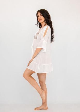 Платье пляжное короткое белое с гипюром3 фото