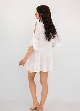 Платье пляжное короткое белое с гипюром4 фото